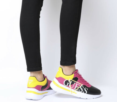 Multi Sneakers Flats Guess Black Yellow Logo Womens Milez Red 0qRt0fw