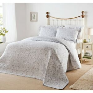 Bella-Grey-White-Brocade-Jacquard-Cotton-Rich-Matelasse-Bedspread-Pillowsham