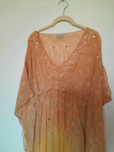 All Saints Silk Sequin Kimono Caftan Sz 10  Embroi