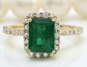 3-30-Quilate-Natural-Esmeralda-Zambiana-amp-Diamonds-en-14K-Oro-Amarillo-de-Mujer