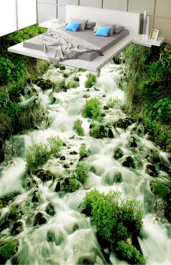 3D Grün Plant River 78 Floor WallPaper Murals Wall Print Decal AJ WALLPAPER US