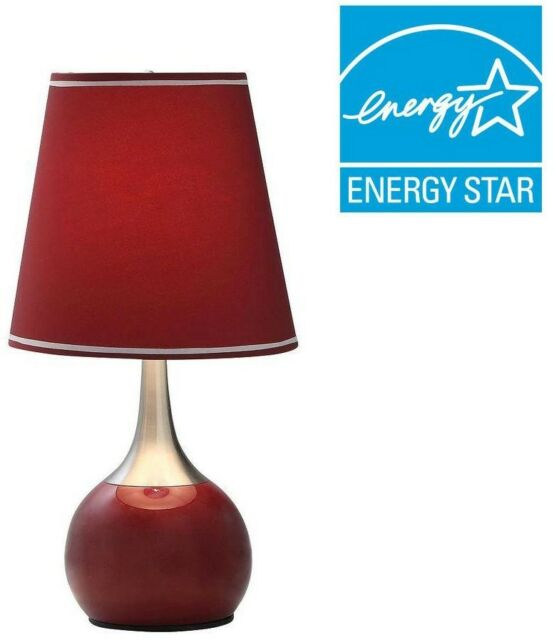 Table Lamp 23 In Burgundy Red Steel Base 3 Way Touch Modern Cylindrical Shade