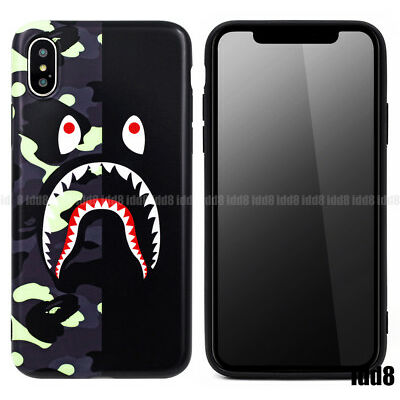 A Bathing Ape BAPE CITY CAMO SHARK Soft Phone Case For iPhone X 8 7 PLUS 6 6S
