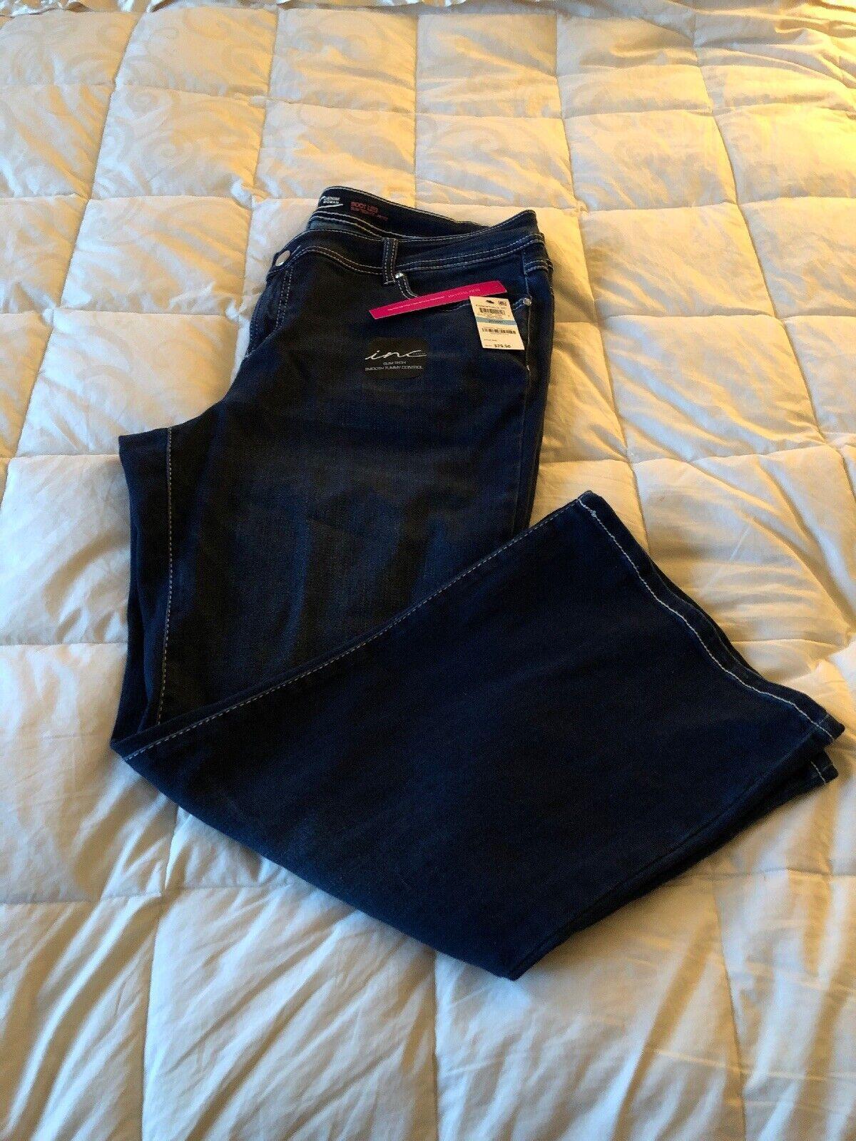 INC Size 20P NWT Denim Boot Cut Jeans, Dark Wash, Slim Tech Smooth Tummy Control