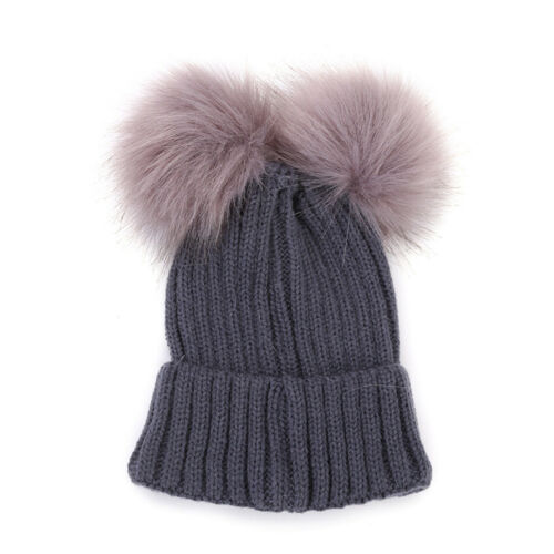 Mom/&Newborn Kids Baby Boy Girl Winter Double Fur Pom Bobble Beanie Hat Caps 2019