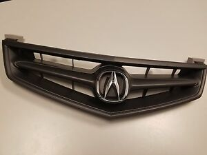 Acura TSX Front Grill Grille All Black With OEM Emblem - Acura emblem black