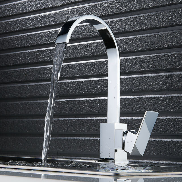 Modern Chrome Brass Kitchen Faucet Swivel Spout Single Handle Sink