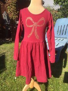 Kleid Mädchen 110/116 H&M Rot Gold Langarm   eBay