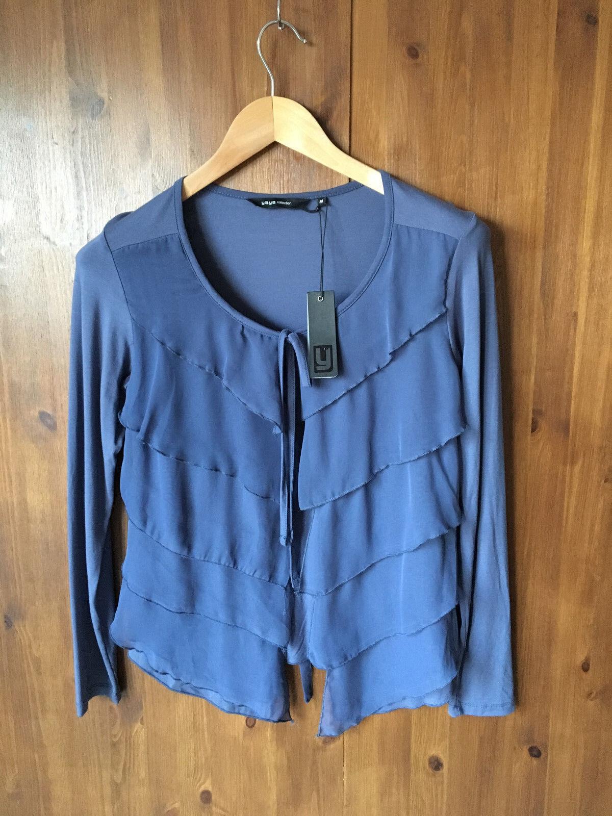 Collection YAYA YAYA YAYA gris bleu à volants Front Jersey Cardigan M/UK 12/EUR 40-NEUF fe1b1b