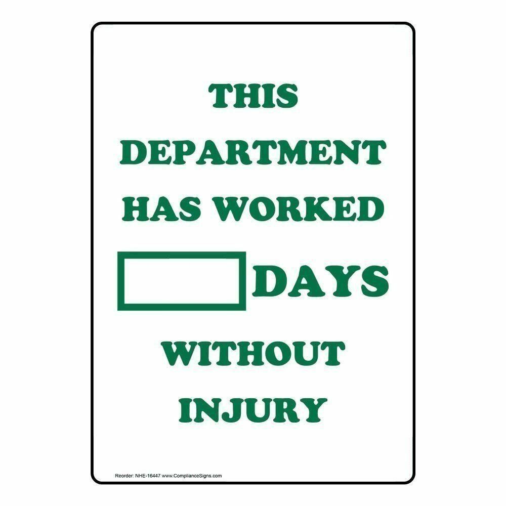 ComplianceSigns Dry Erase Days Without Injury Sign, 14 x 10 Aluminum with Englis
