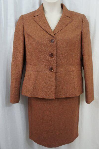 Le Suit Petite Costume Jupe Sz 14p Rouille rot en Épi Rock Hill Carrière
