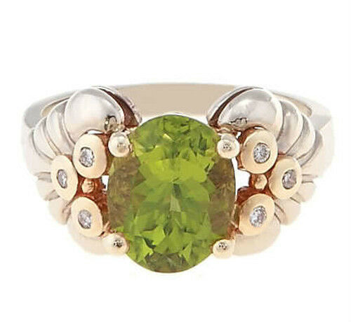 14Kt Yellow gold Oval Shape Peridot with Diamond Ladies Ring