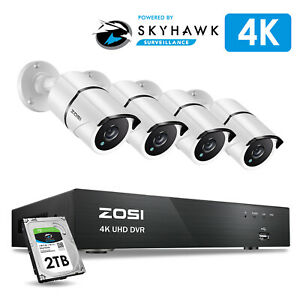 Details about ZOSI 4K Ultra HD Security Cameras System 4CH H 265+ DVR with  2TB Hard Drive
