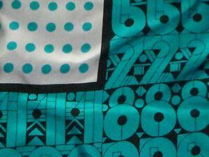 Vtg-60s-70s-MOD-Acute-Silk-Scarf-Turquoise-Aqua-Black-Numbers-Dots-Japan-31-034