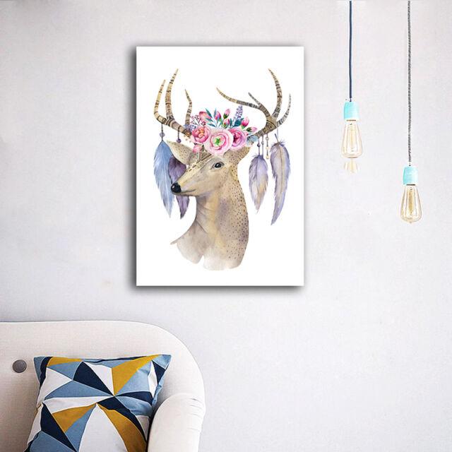 30×40×3cm Color Deer Flower Canvas Print Framed Wall Art Home Decor Painting II