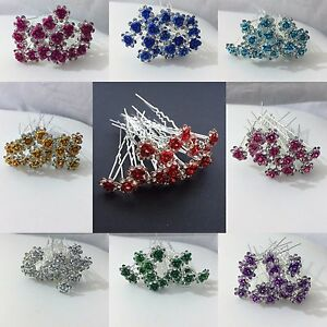 20-x-Stunning-Diamante-Floral-Hair-Pins-Bridal-Wedding-Available-In-Many-Colors