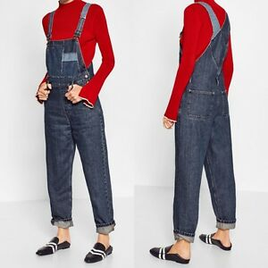 d7877ce5 Image is loading NWT-ZARA-DENIM-MOM-FIT-DUNGAREES-OVERALLS-JUMPSUIT-