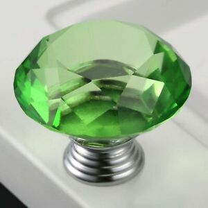 Chic-1-57in-Green-Knobs-Crystal-Glass-Door-Handle-Cupboard-Wardrobe-Cabinet-Pull