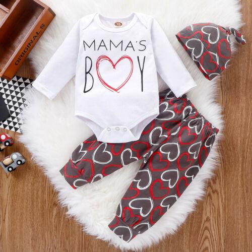 3PCS Newborn Infant Baby Boys Valentine/'s Day Letter Romper+Pants+Hat Outfit Set