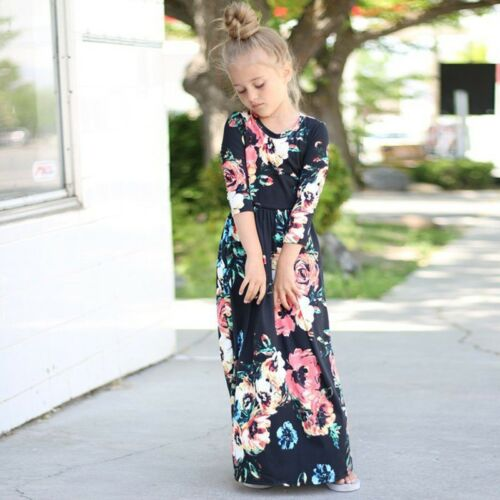 Fashion Kids Girls Long Sleeve Dresses Floral Maxi Dress Outfit Holiday Party