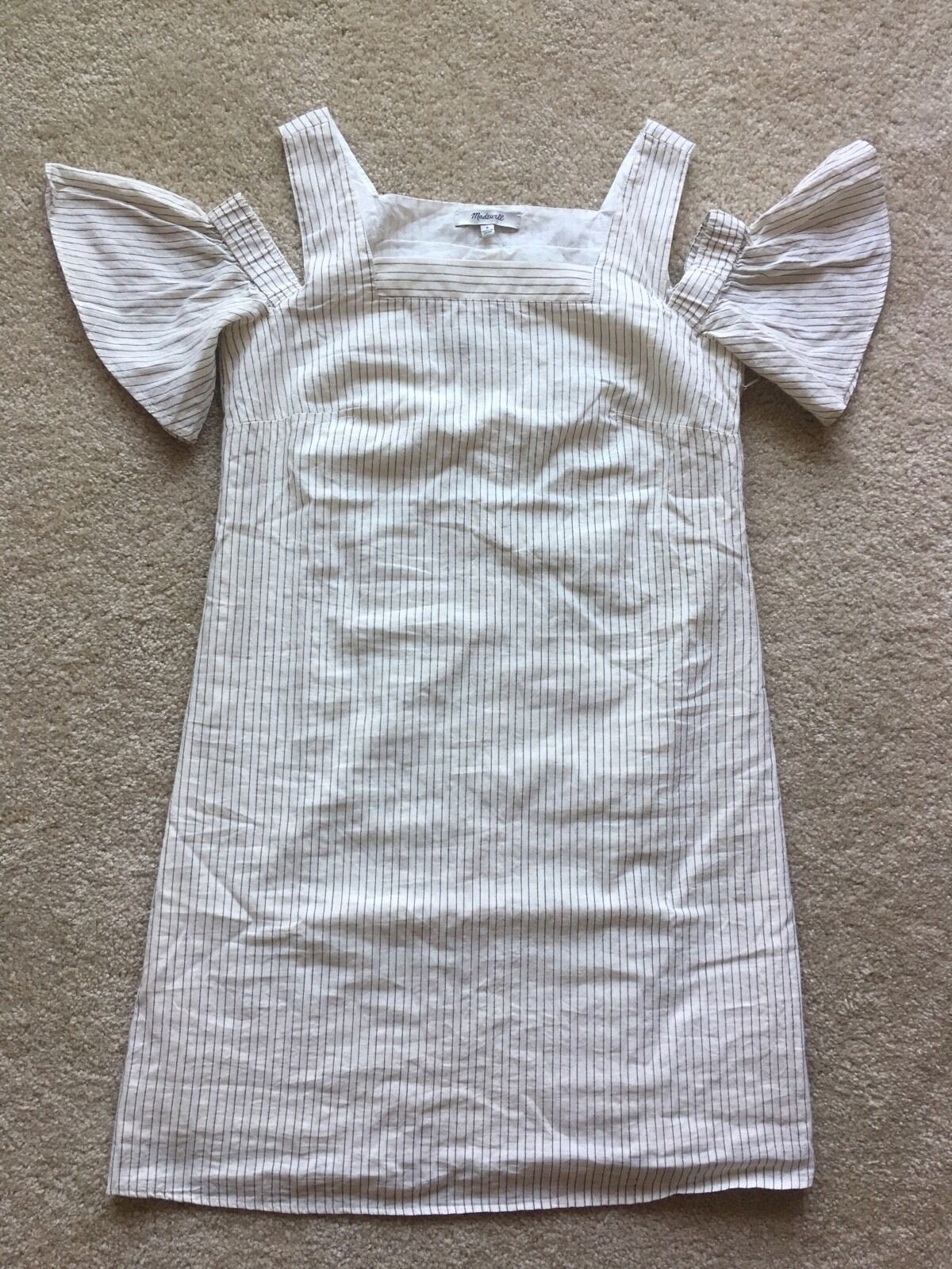 Authentic Madewell striped cold-shoulder dress Größe 2, bleached linen