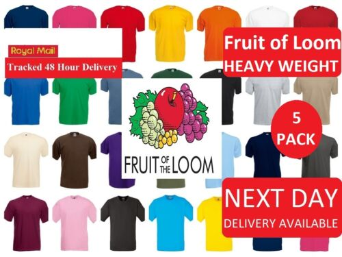 5 Pack Men/'s Women Fruit of the Loom Plain Heavy Cotton Blank Tee Shirt Tshirt