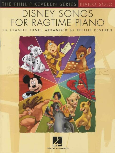 Disney Songs for Ragtime Piano Solo Sheet Music Book Aladdin Peter Pan Lion King