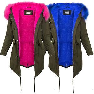 best website 9265f 9ae1a Details zu Damen Winterjacke Parka elegant Kunstfell Winter Jacke warm Blau  Khaki D-239 NEU