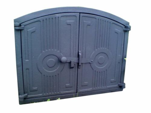480 x 380mm Cast Iron Fire Door Clay Bread Oven Pizza Stove Smoke House Grey