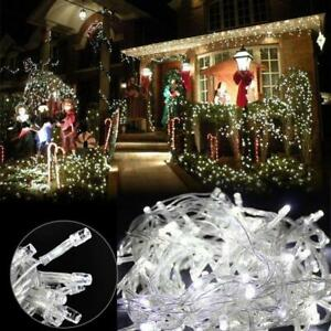 Details About Cool White Led Christmas Tree Decor Fairy String Lights Outdoor Xmas Connectable