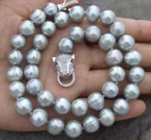 kultiviert-10-11mm-graue-Suesswasser-Perlenkette-17-zoll-leopard-kopf-verschluss