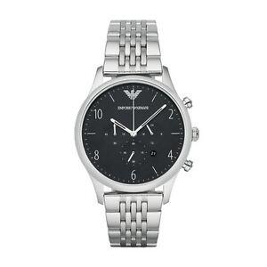 Emporio-ARMANI-Herren-Chronograph-Uhr-Edelstahl-Armband-Schwarz-Zifferblatt-ar1863