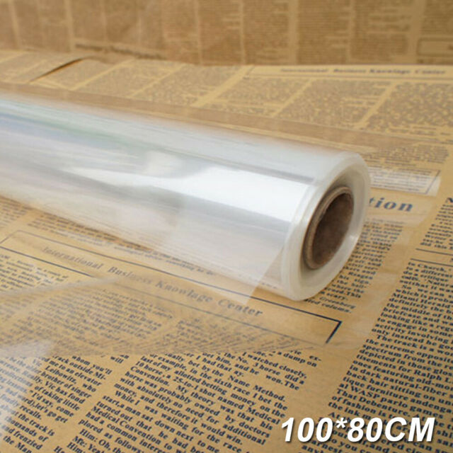 90 Metres Clear Plain Cellophane Roll Florist Craft Gift Wrap 80cm wide