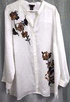 Maggie Barnes White Brown Long Sleeve V-neck Dressy Shirt 3x, $60