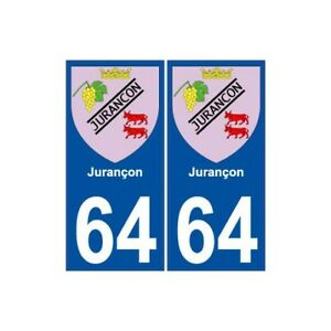 64 Jurançon Blason Autocollant Plaque Immatriculation Ville Sticker - Angles : Artisanat D'Art