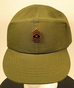 US-Army-Sergeant-Major-OD-Green-Fatigue-Field-Hat-Cap-Vietnam-Era-6-3-4-54