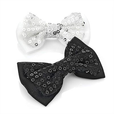 BLACK /& WHITE SPARKLING SEQUIN FABRIC DOUBLE BOW HAIR CLIPS GRIPS SLIDE 2pc SET