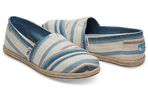 7b330d338148 TOMS BLUE ASTER WOVEN STRIPE WOMEN S ESPADRILLES SHOES. Style ...