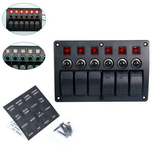 6 Gang Red LED Indicators Rocker & Circuit Breaker Marine Boat Rv Switch Panel