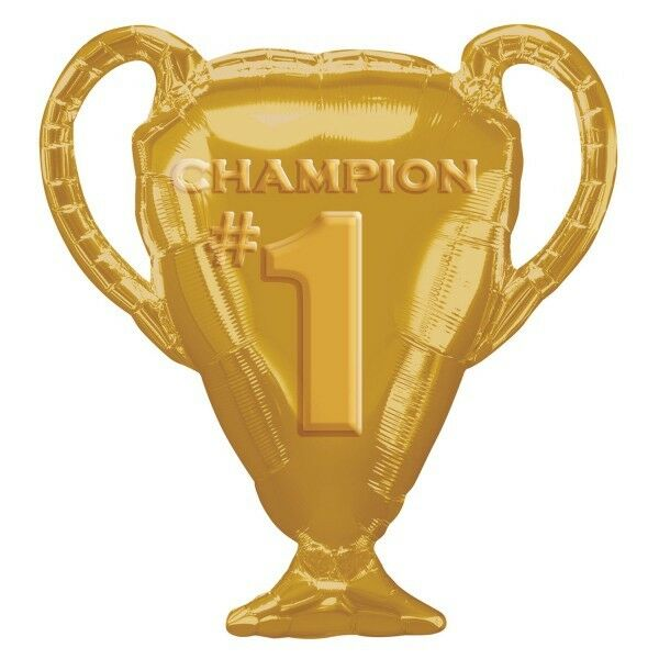 "CHAMPION TROPHY BALLOON 28"" PARTY SUPPLIES #1 GOLD SUPERSHAPE ANAGRAM BALLOON"