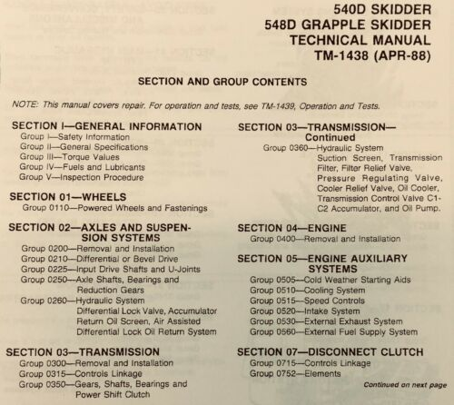 SERVICE MANUAL FOR JOHN DEERE 540D 548D GRAPPLE SKIDDER REPAIR TECHNICAL BINDER