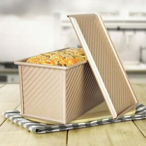 Pullman-Loaf-Pan-with-Lid-Non-Stick-Bakeware-Bread-Toast-Mold-Alloy-Corrugated