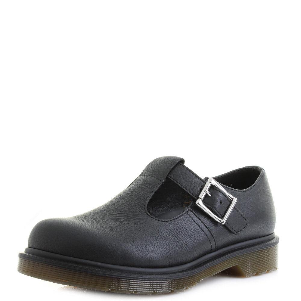 796ea93d4581f0 Bottines Femme Dr Martens Polley PW Virginia en en en Cuir Noir Classique  Travail Chaussures Sz ...