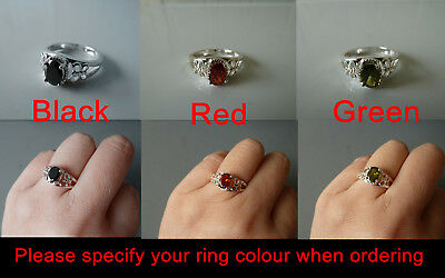 Sterling Silver ring (plated) Size 6 CZ stones, RED, BLACK, GREEN, #6