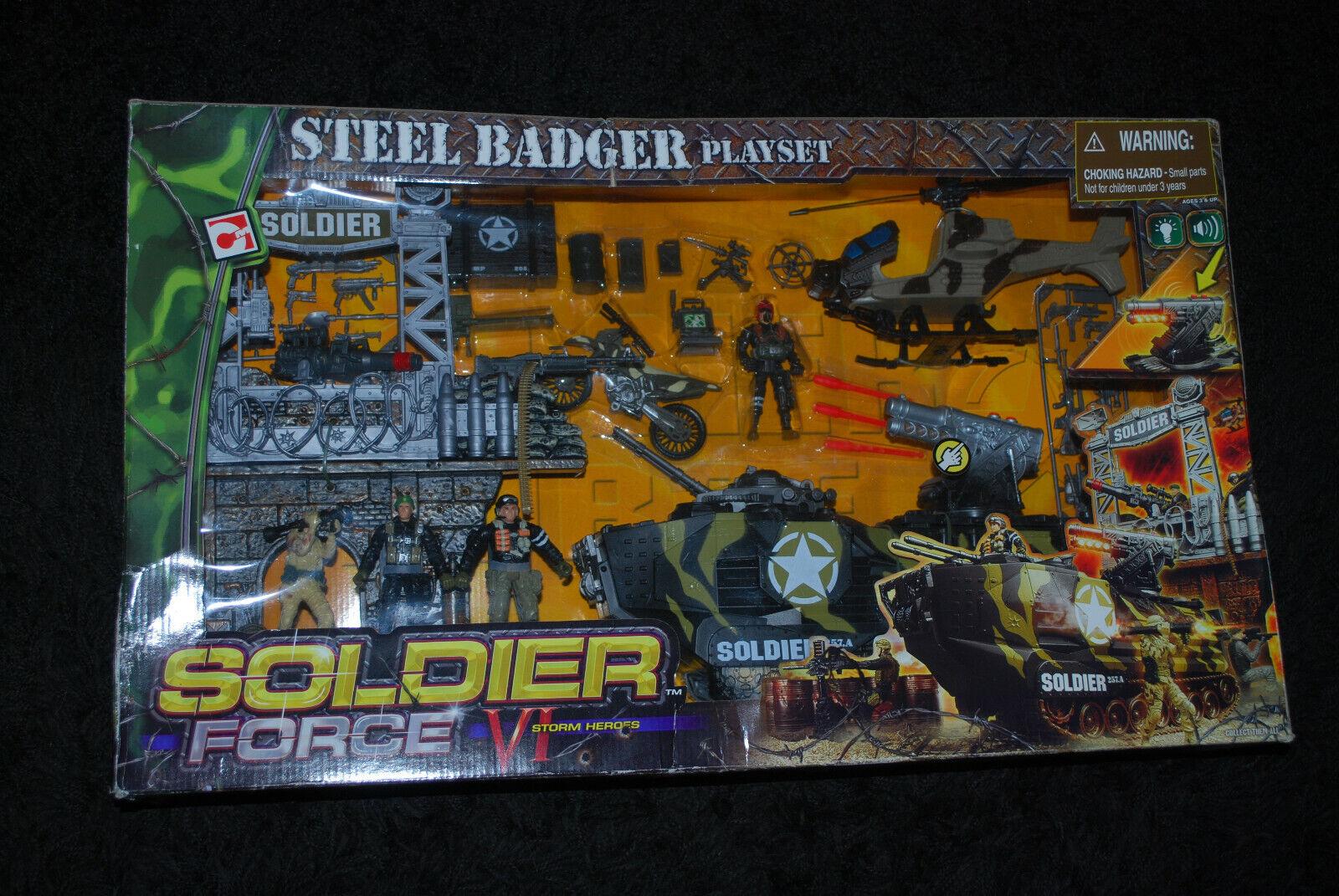 Soldier Force VI - Storm Heroes - Steel Badger Interactive Playset - Rare & OOP