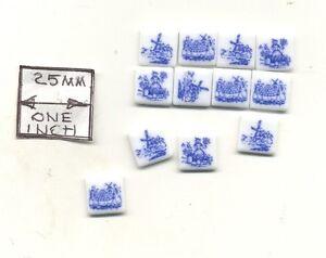 Tiles - Blue Delft Porcelain - miniature 1.791/4 Reutter 1/12 scale 12pcs/pk