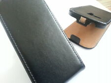 SAMSUNG Galaxy S3 Mini i8190 GENUINE LEATHER FLIP PHONE Custodia Nera Cover Skin