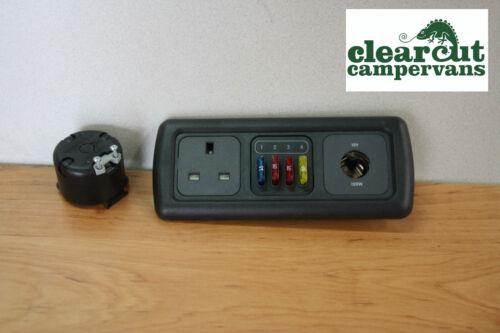 4 Way Fuse Holder MB 12v Socket VW T5 Campervan CBE Triple Frame 240v Socket