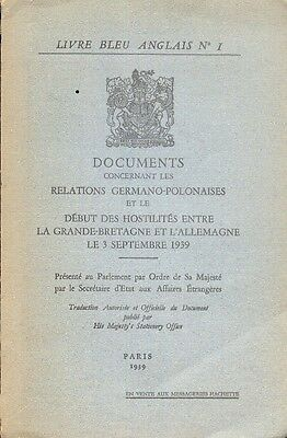Livre Bleu Anglais N 1 Documents Relations Germano Polonaises 1939 Ebay