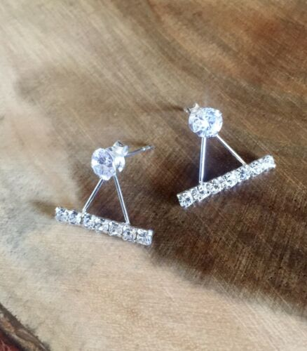 925 Sterling Silver Bar Front to Back Crystal Ear Jackets Earrings